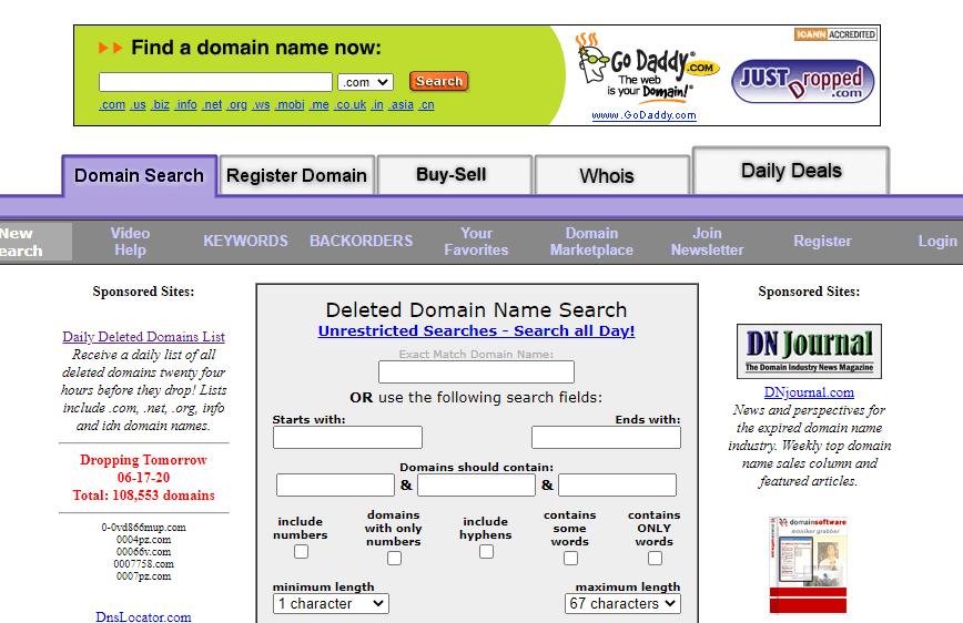 Düşecek alan adları silinen domainler