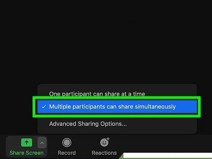 Zoom birden fazla katılımcı aynı anda paylaşabilir
