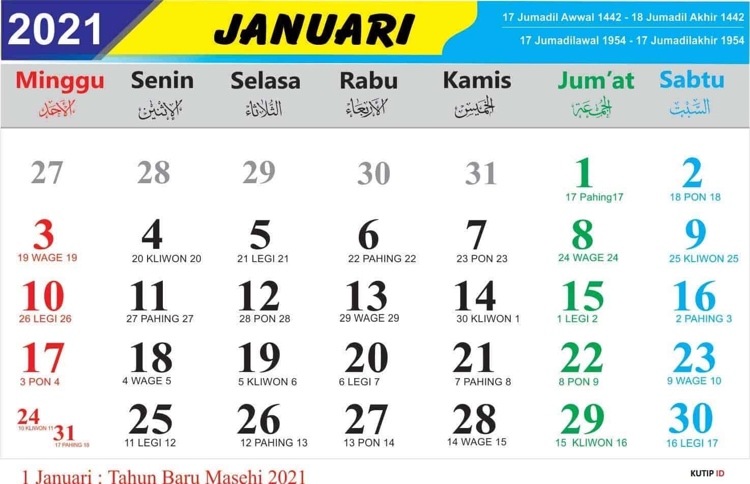 Kalender Bulan Januari 2021 Lengkap Jawa dan Nasional