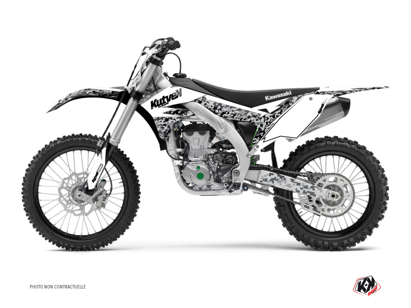 Kawasaki 250 KX Dirt Bike Predator Graphic Kit White