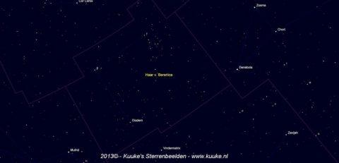 Coma Berenices - klik op de afbeelding voor een kaart met de namen van de sterren