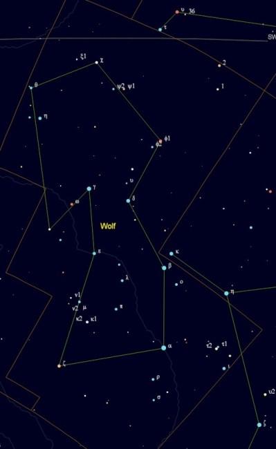 Kaart van het sterrenbeeld Lupus