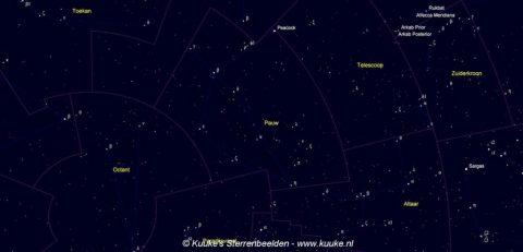 Pavo - Pauw - kaart met de namen van de sterren