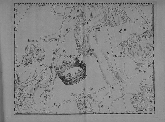 Corona Borealis uit de steratlas van Johannes Hevelius