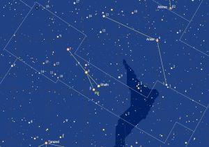 het sterrenbeeld Sagitta - Pijl met de namen van de sterren