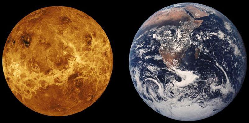 Venus vergeleken met de Aarde