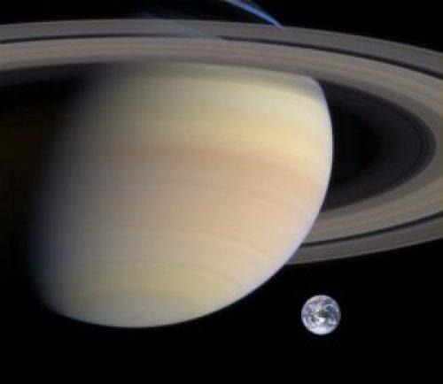 De grootte van Satrnus vergeleken met de Aarde
