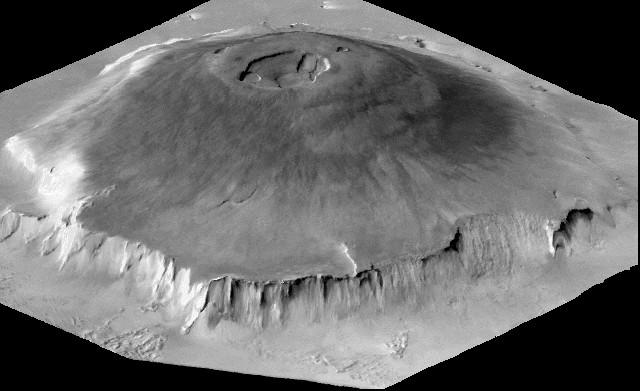 De vulkaan Olympus Mons