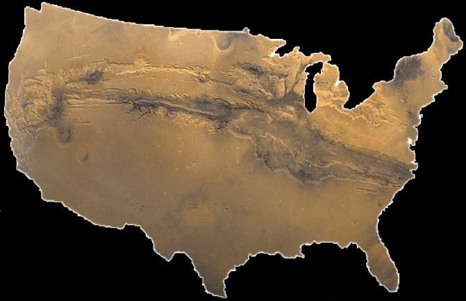 De grootte van Valles Marineris vergeleken met de grootte van de Verenigde Staten