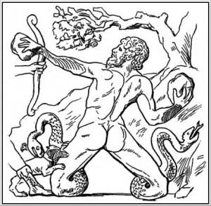 Mythologische afbeelding van Mimas die slangen als benen had.