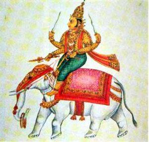 Indra op de rug van de witte olifant Aravata