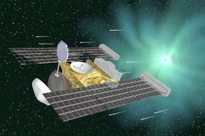 Artist impression van de Stardust-sonde bij komeet Wild 2