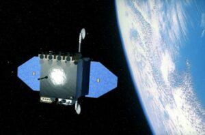 Artist impression van het Solar Dynamics Observatory in een baan om de Aarde (NASA)