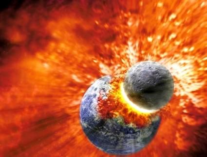 Theia in botsing met de Aarde