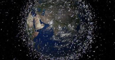 rtist impression van ruimteschroot om de Aarde