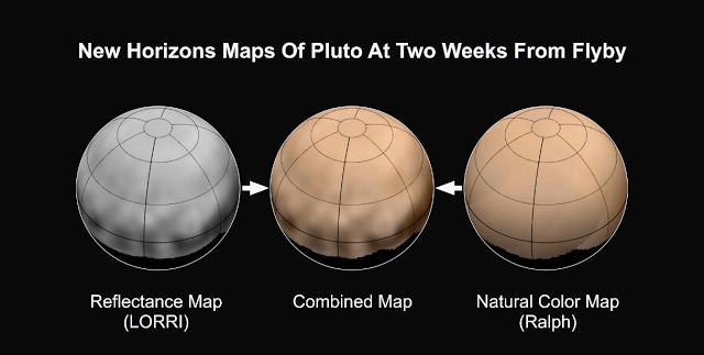 Samengestelde kleuren kaart van Pluto