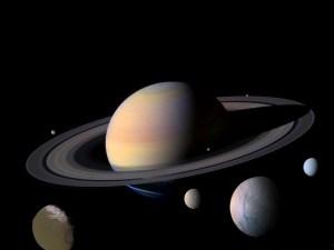 Saturnus en enkele van zijn grote manen