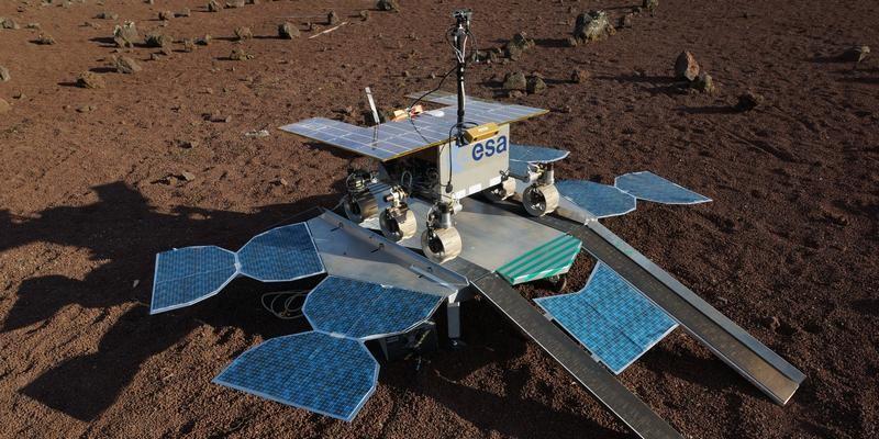 De ExoMars rover op het stationaire platform