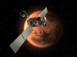De Trace Gas Orbiter in een baan om Mars