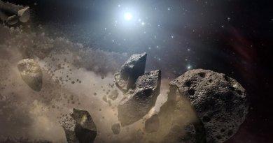 Artist impression van een asteroïde die uit elkaar valt.
