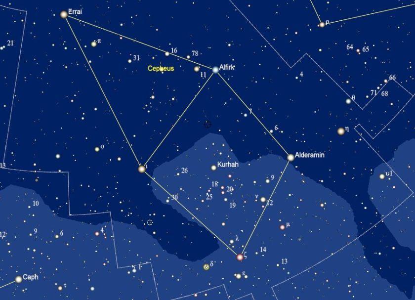 Cepheus met de namen van de sterren