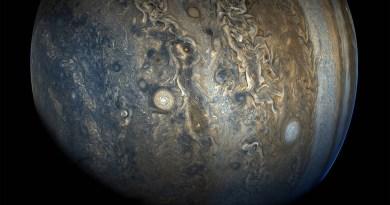 Jupiter gezien door de JunoCam op 24 oktober 2017