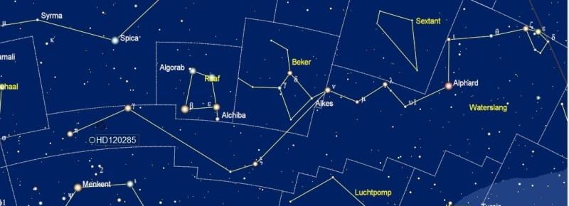 W Hydrae in het sterrenbeeld Waterslang