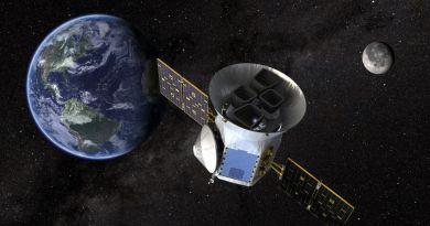 Artist impressie van de TESS in een baan om de Aarde