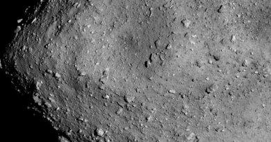 Rotsblokken en krater op asteroide Ryugu