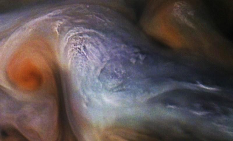 Close-up van de wolkentoppen van Jupiter