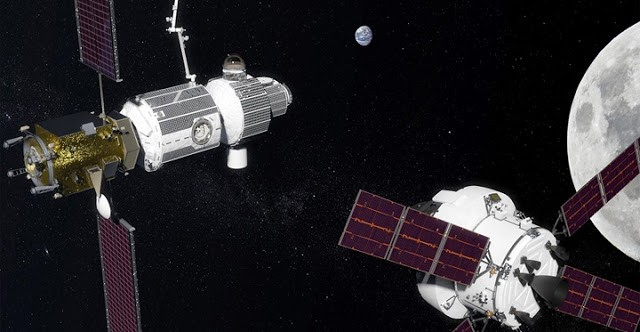 Orion nadert het deep Space Gateway
