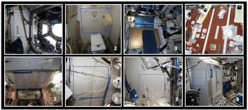 acht verschillende locaties in het ISS