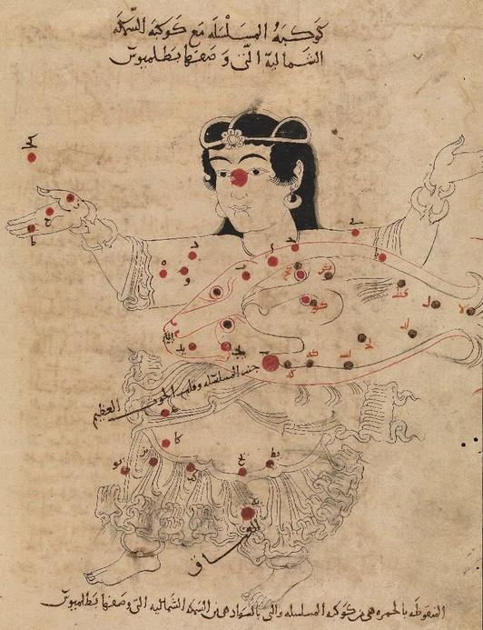 het sterrenbeeld Andromeda volgens de islamitische astronoom al-Sufi.