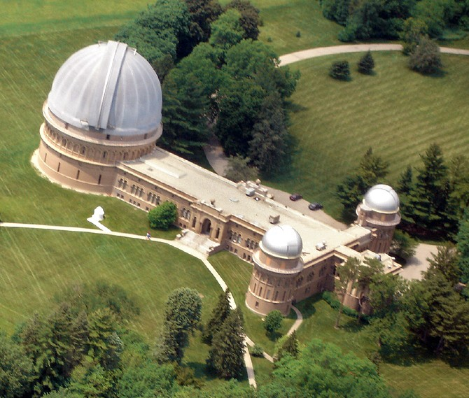 Luchtfoto van de Yerkes sterrenwacht