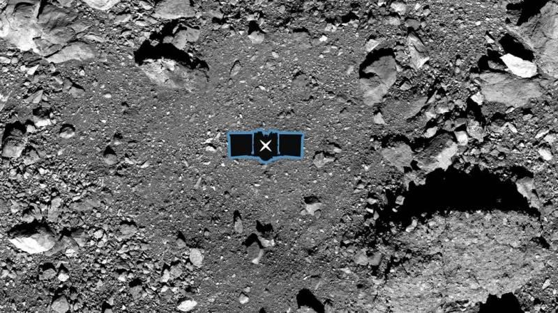 De nachtegaal krater op de asteroïde Bennu