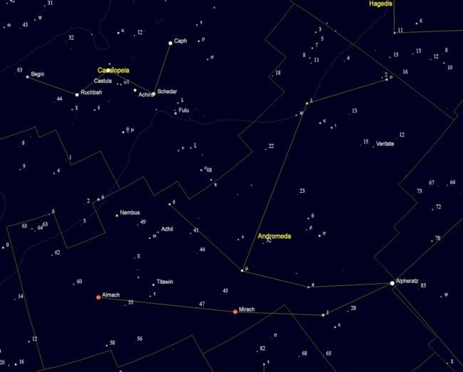 Andromeda met de namen van de sterren