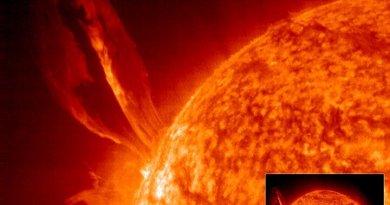 Vergelijking van de grootte van een zonnevlam met de grootte van de Aarde