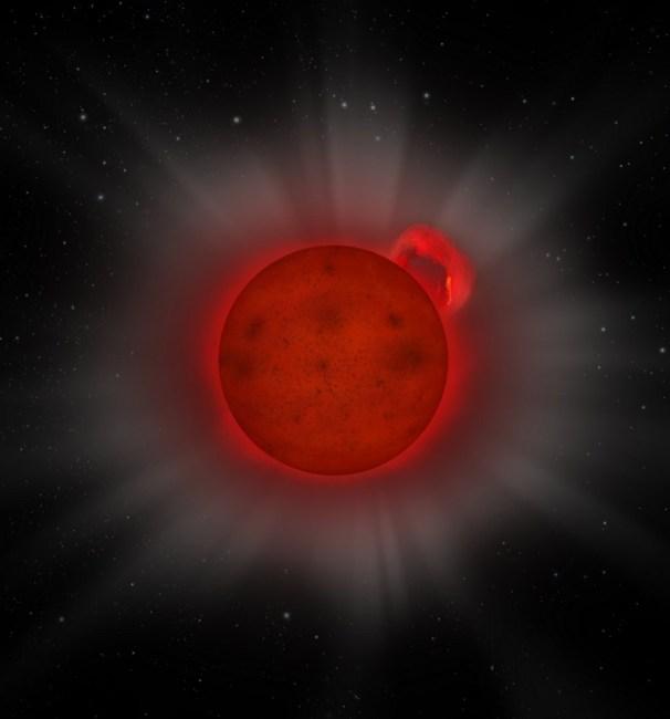 Artist impression van een reusachtige zonnevlam