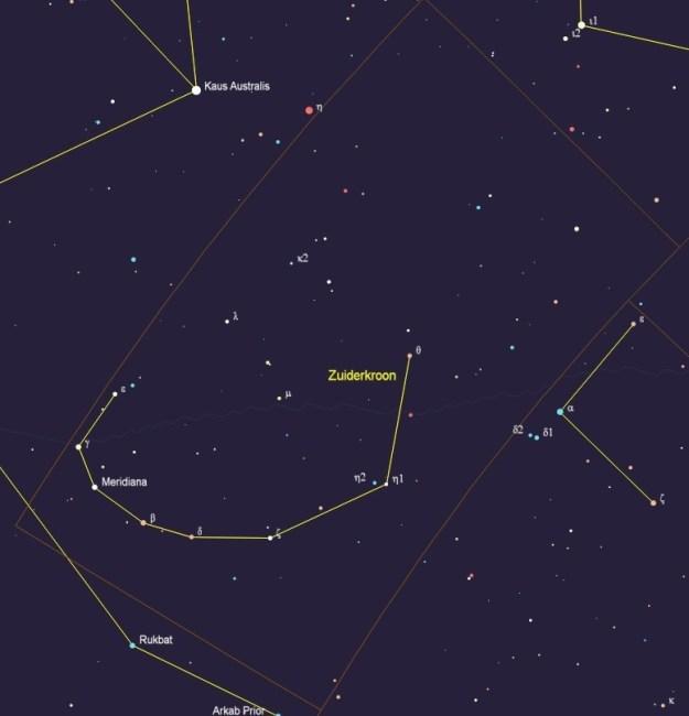 Het sterrenbeeld Corona Australis - Zuiderkroon met de namen van de sterren