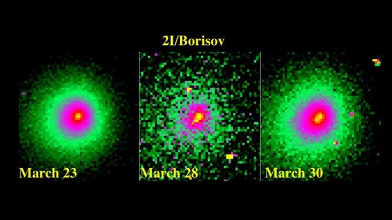 Een opname gemaakt met de Hubble Space Telescope toont het losse fragment bij komeet 2I/Borisov