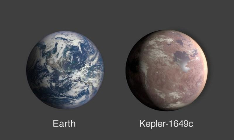 Vergelijking tussen de Aarde en de exoplaneet Kepler-1649c