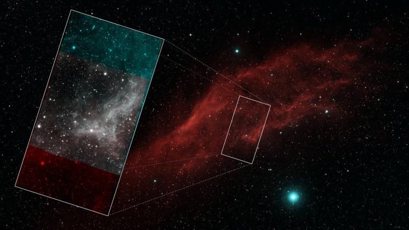 Beeld van de Spitzer vergeleken met een opname in zichtbaar licht
