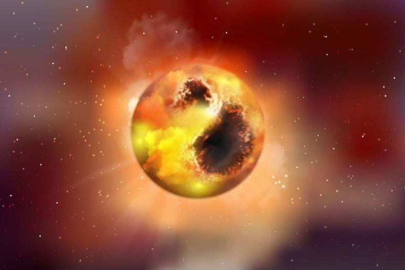 Artist impressie van de rode superreus Betelgeuze