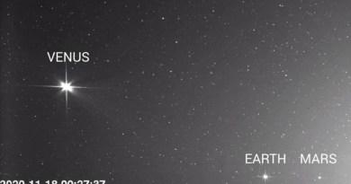 Solar Orbiter fotorafeert Venus, de Aarde en Mars