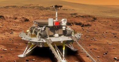 Tianwen-1 lander/rover combinatie op Mars