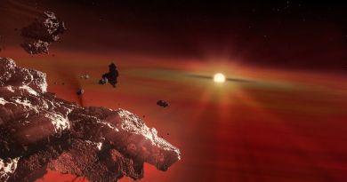 Artist impressie van overblijfselen van de korst van een planeet die door getijdekrachten van een witte dwerg uit elkaar is gevallen. Het materiaal verdampt dichtbij de ster en stroomt daarna naar de atmosfeer van de witte dwerg