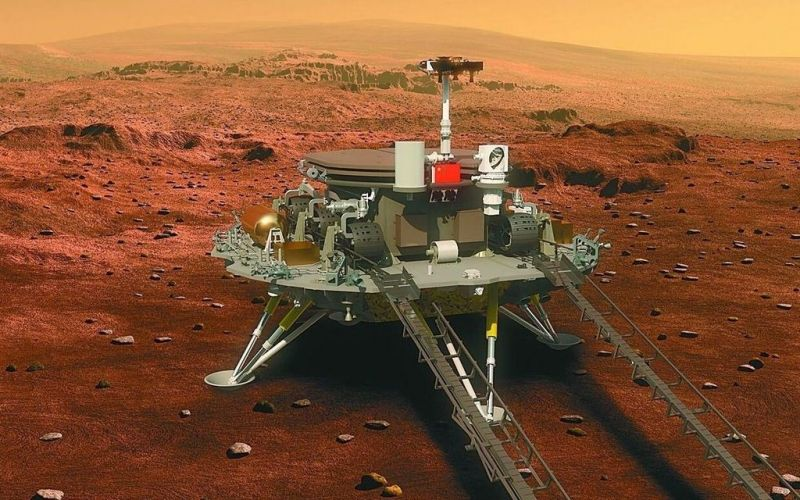 Chinese marsrover Zhurong op Mars