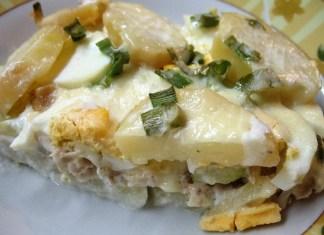 Musaka od kuvanih krompira, jaja, tikvica i mesa od juče