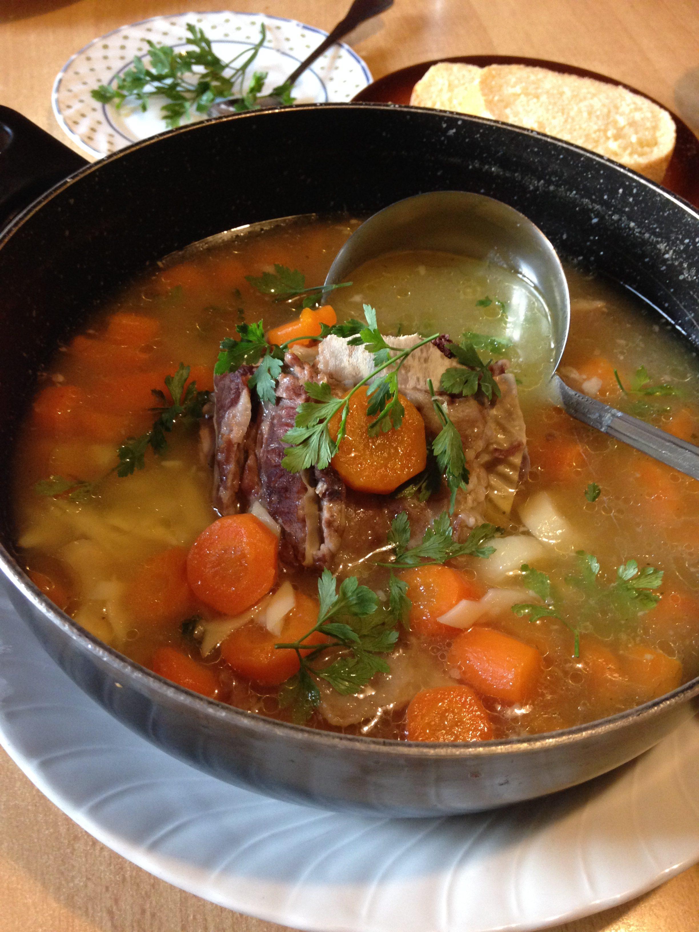 Domaća juneća supa sa rebrima i rezancima