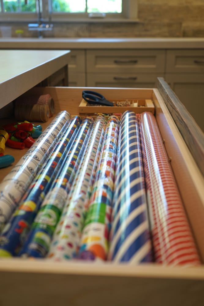 Mud Room Wrapping Station with Custom Paper Drawers